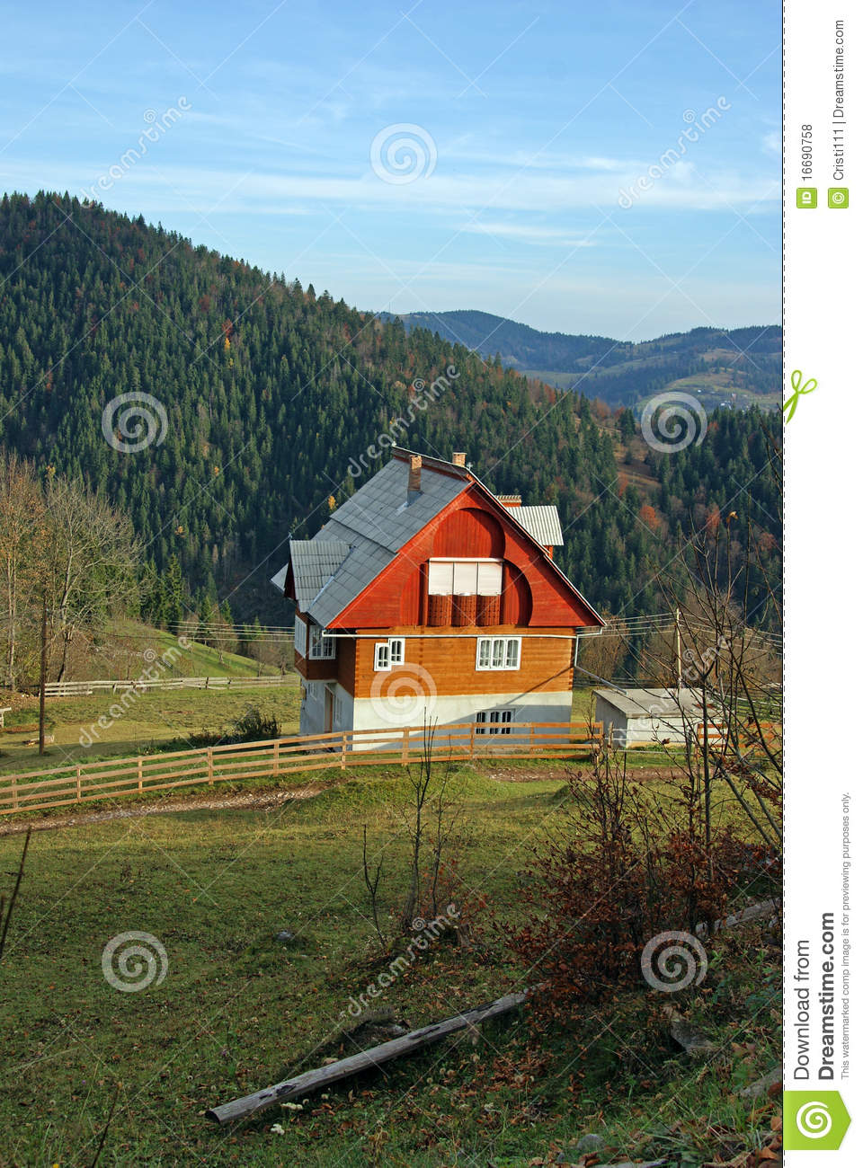 Wooden cottage in mountain valley royalty free stock for Cottage in the mountains
