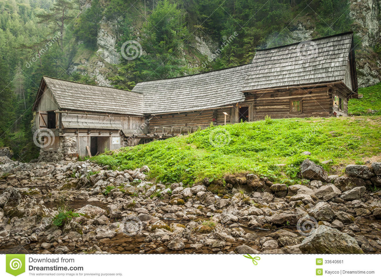 Wooden cottage in the mountains with creek stock image for Cottage in the mountains