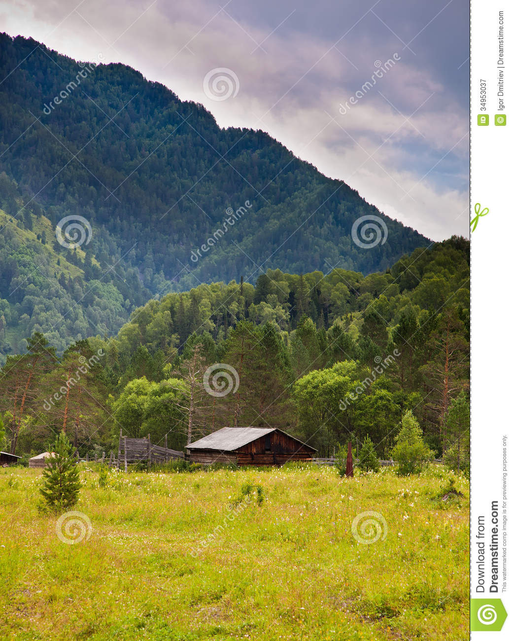 Wooden cottage in mountains stock image image 34953037 for Cottage in the mountains