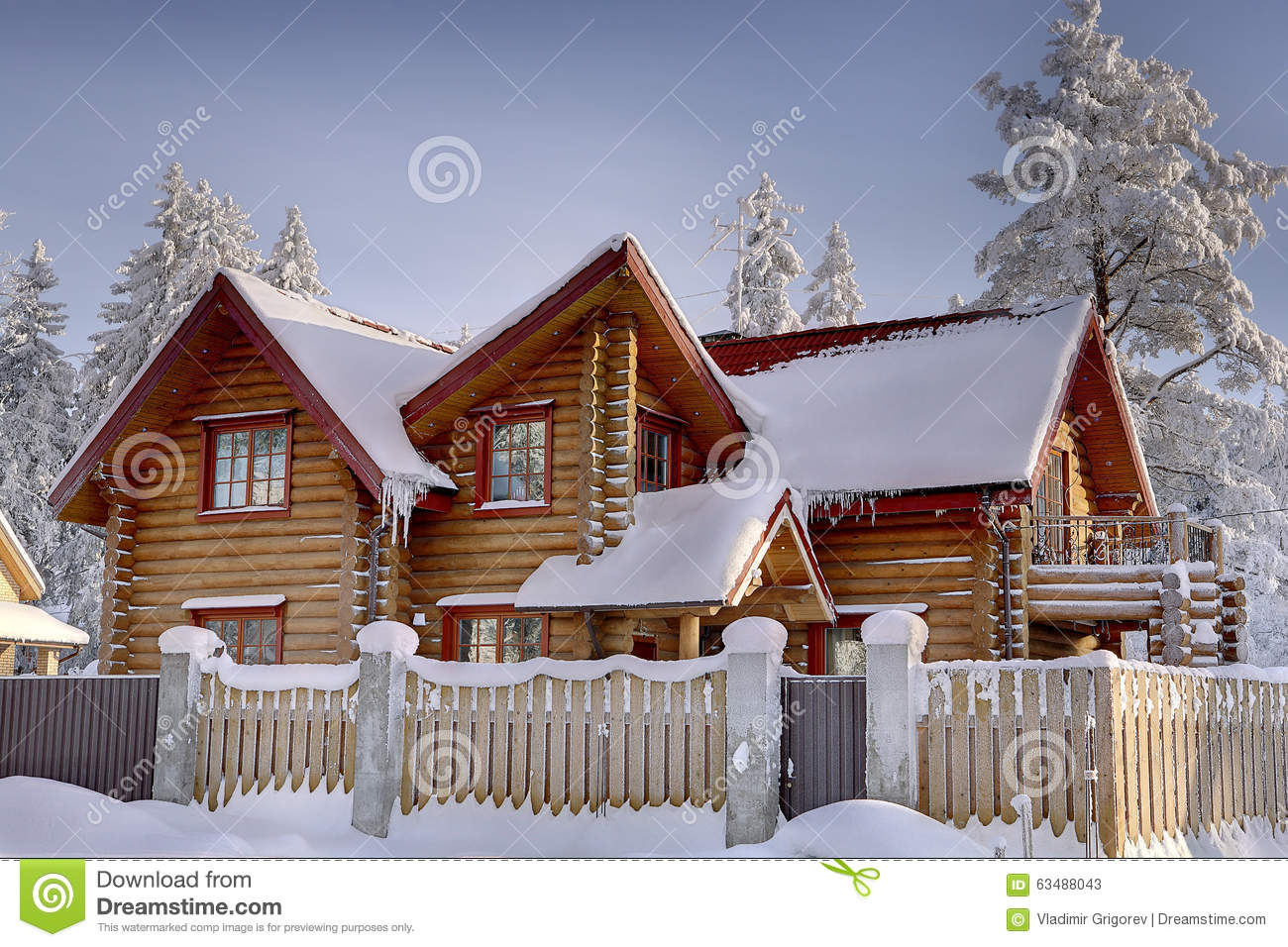 Wooden Cottage Of Stained Timber Snowy Woods In Winter
