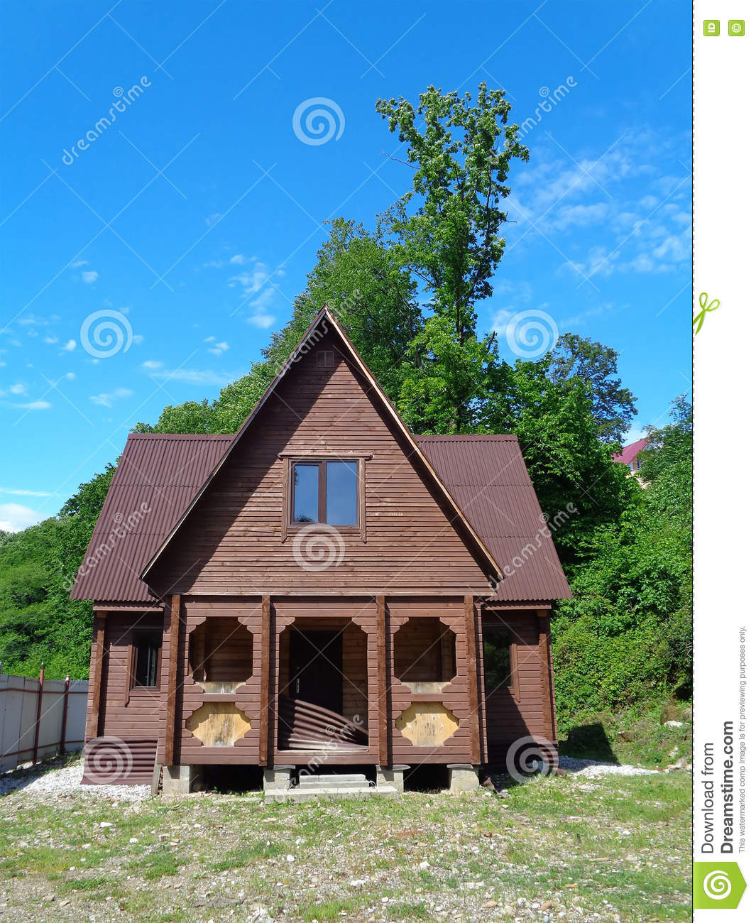 Wooden country house with land for sale stock photo for Country homes with acreage for sale