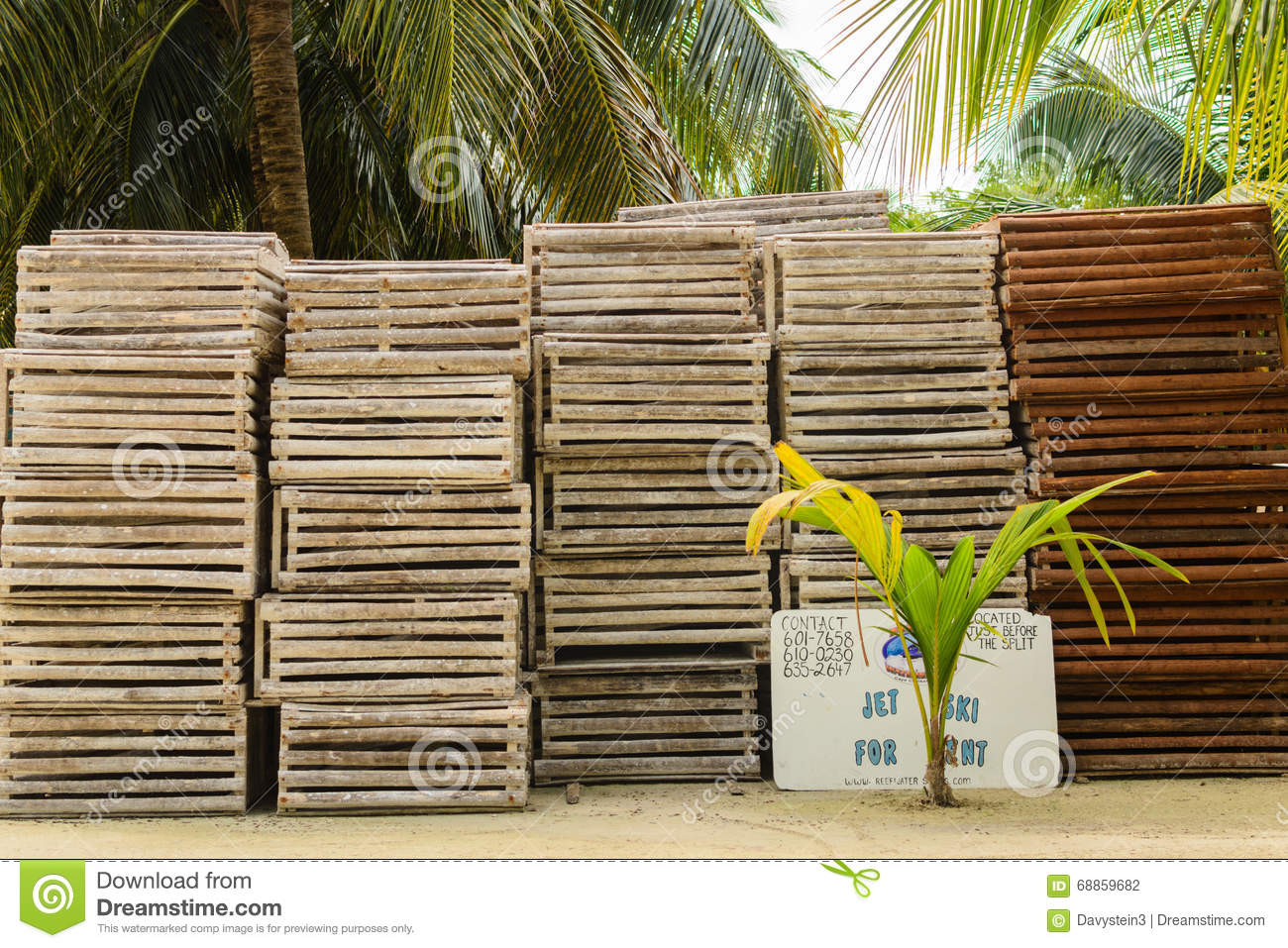 Wooden Crab Traps Stock Photo Image Of Crab Trap Sand 68859682