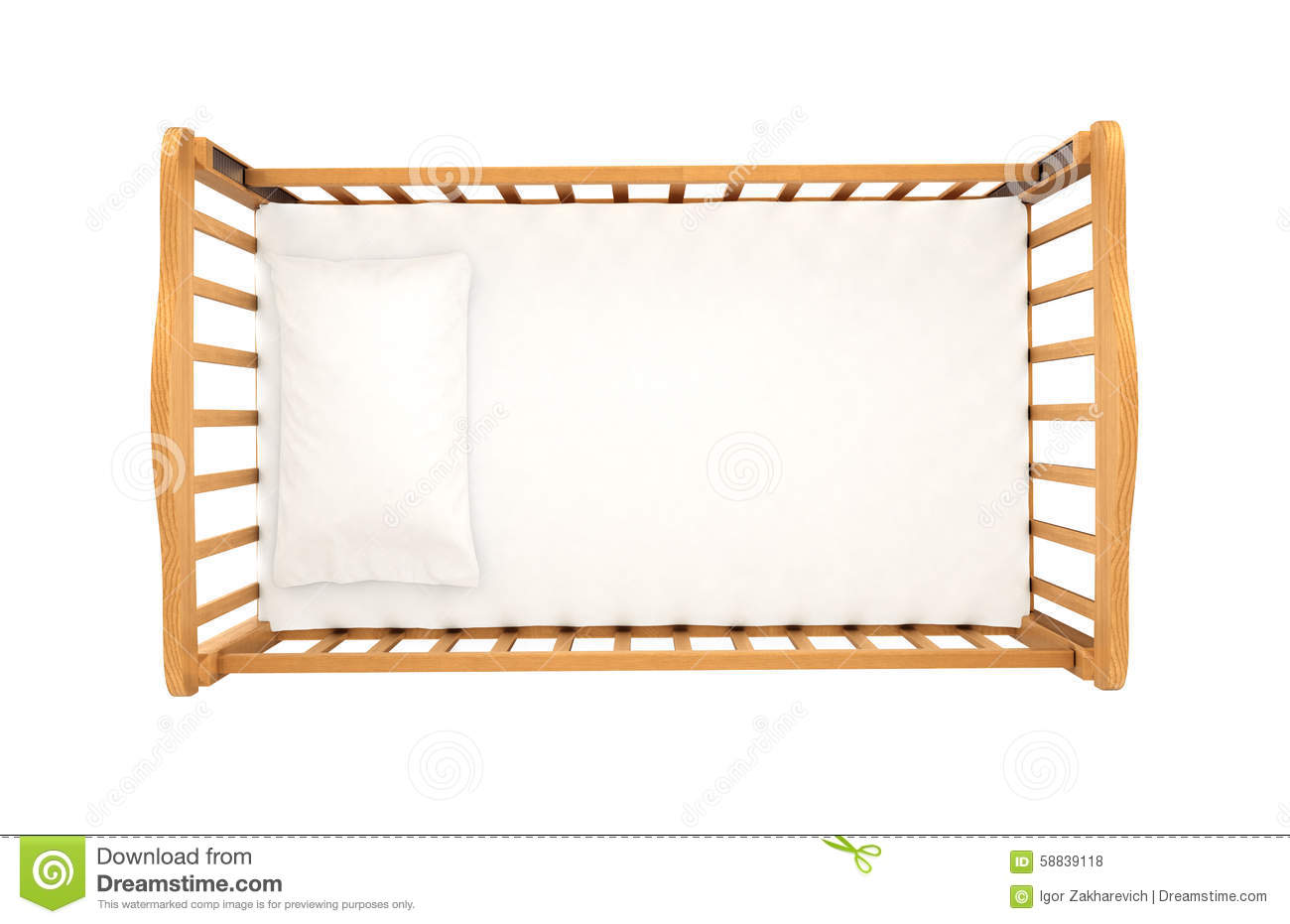 Wooden Cradle For Baby With Pillow Isolated On White