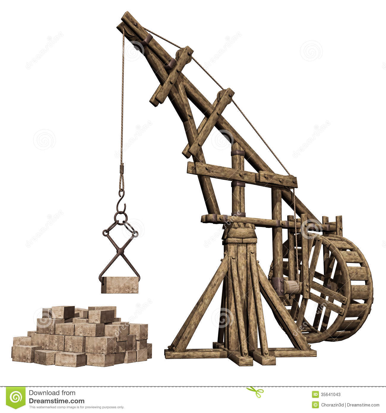 Wooden Crane And Stones Stock Photos - Image: 35641043