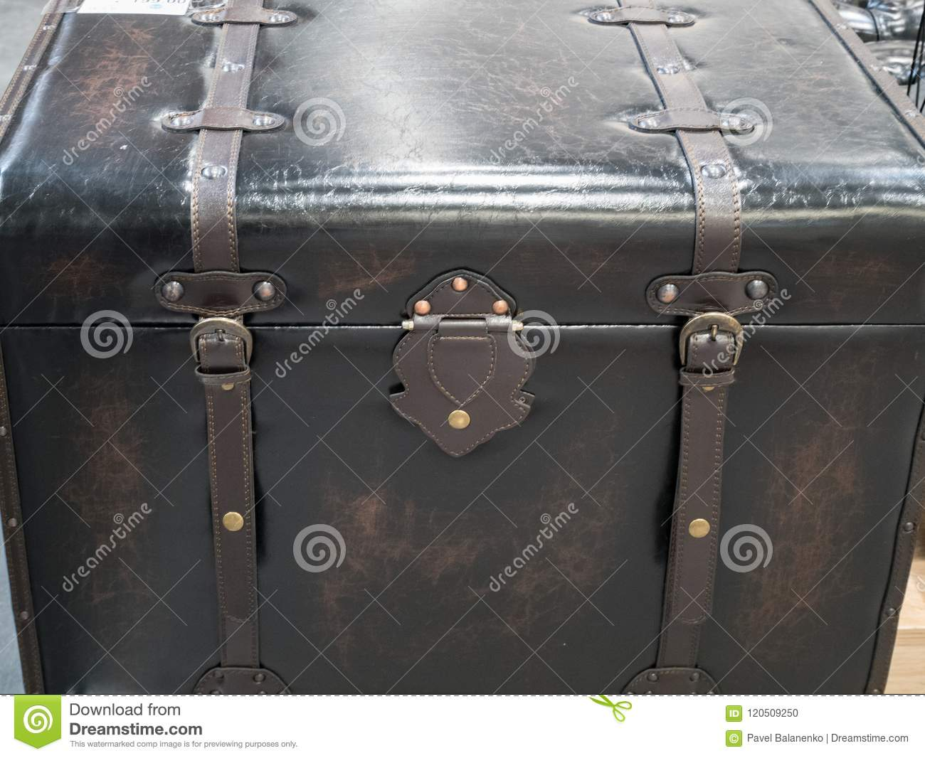 Wooden crate covered with leather