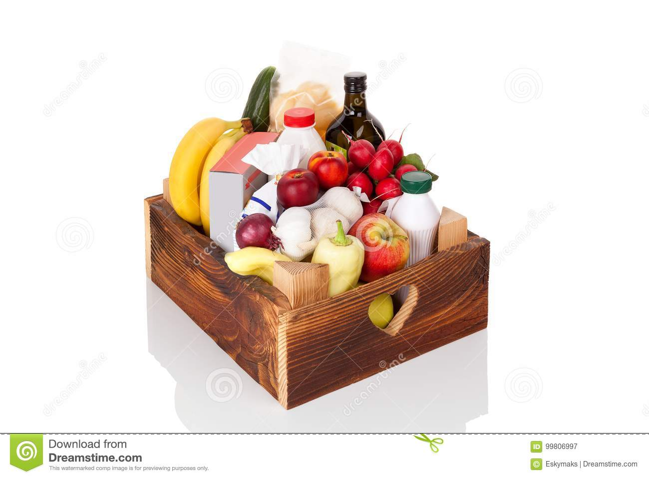Wooden Crate Of Grocery Food And Drink From Store Stock Image
