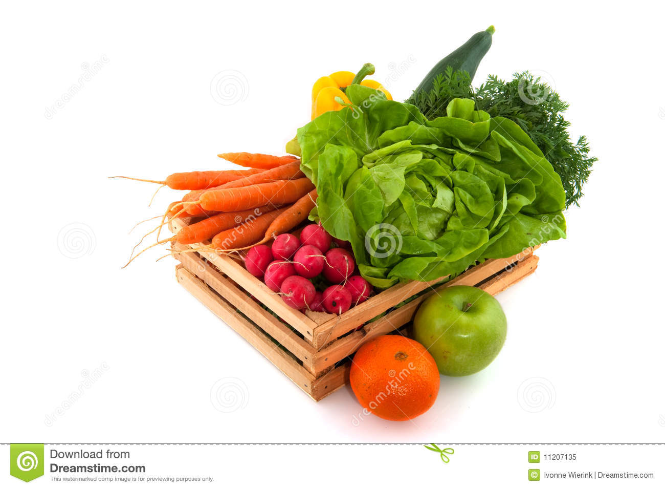 Wooden crate with vegetables and fruit