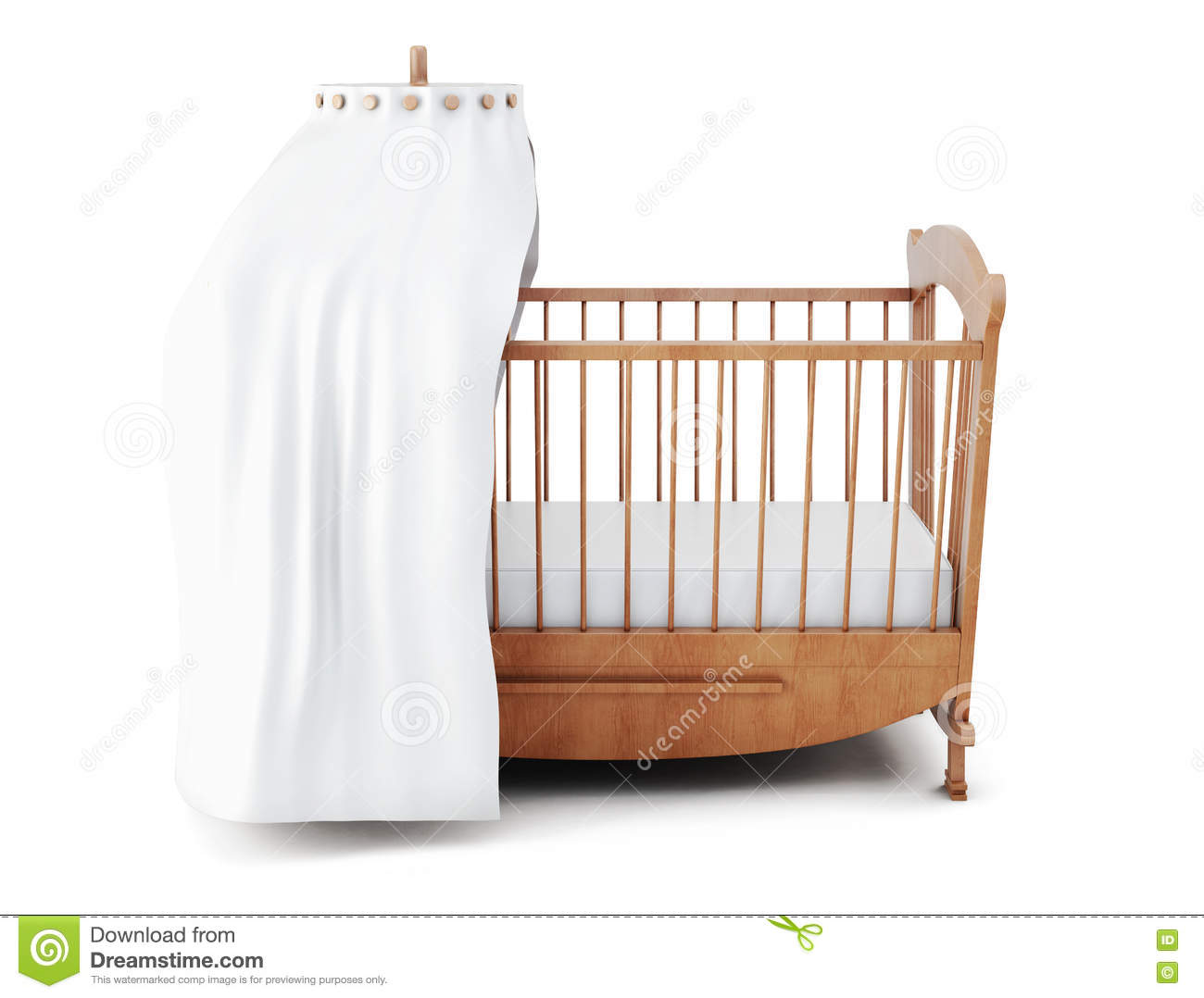 Wooden crib with canopy isolated on white background 3d for White canopy crib