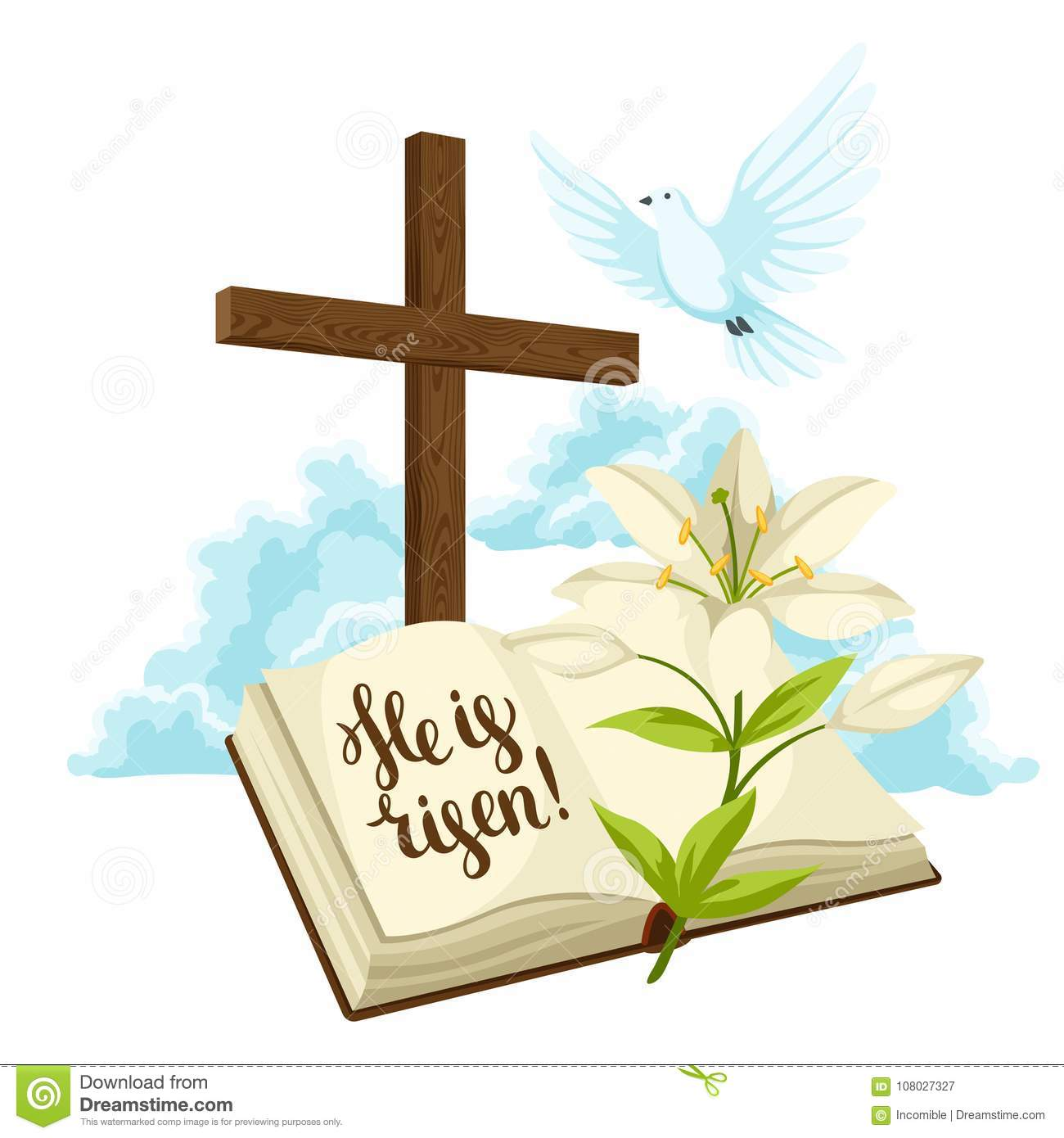 Wooden Cross With Bible Lily And Dove Happy Easter Concept