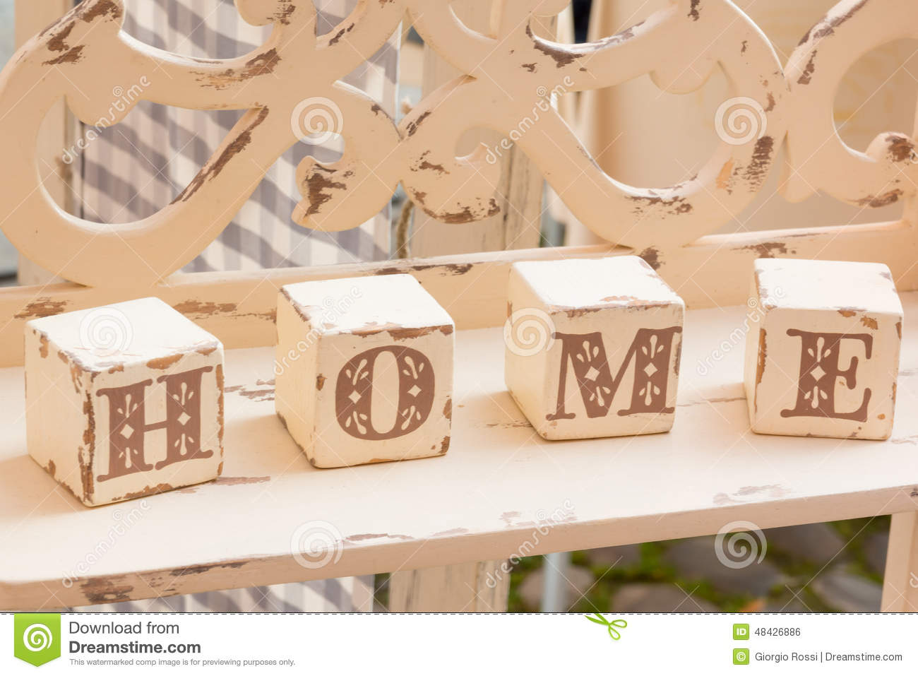 Wooden Cube Decoration Home Letters