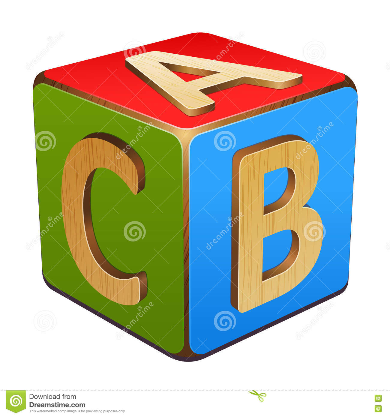 wooden cube with letters a b c stock vector illustration of education square 75302865. Black Bedroom Furniture Sets. Home Design Ideas