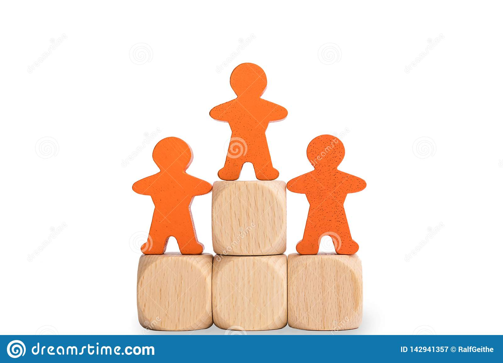 Isolated winners pedestal with wooden males in front of white background