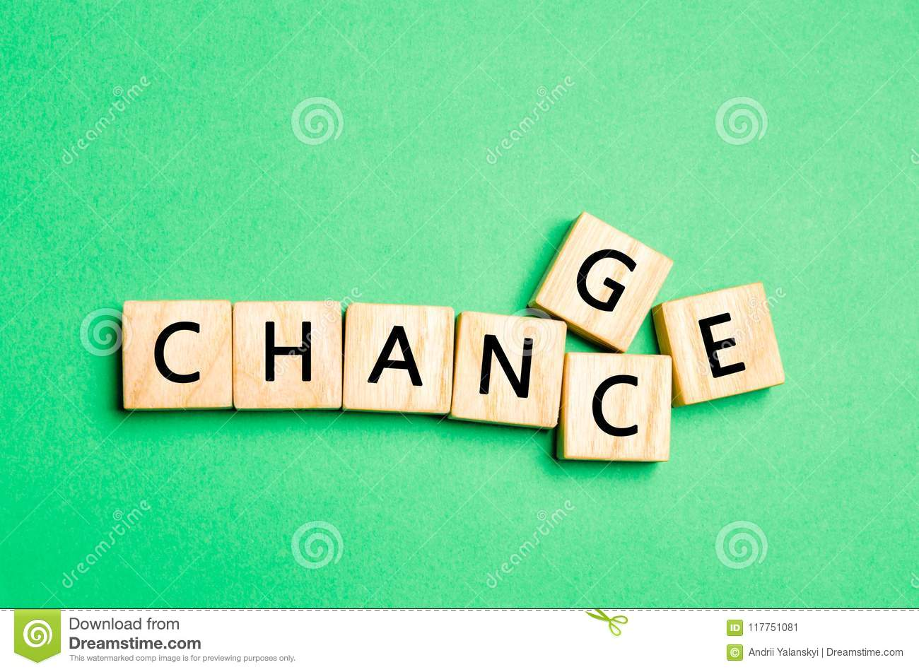 Wooden cube with word change to chance on wood table. Personal development and career growth or change yourself concept. concept o