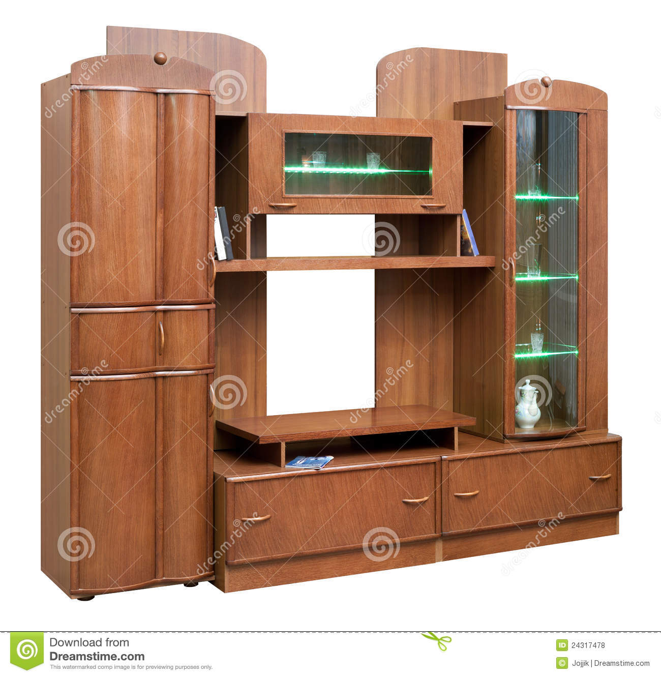 Marvelous photograph of Wooden Cupboard With Glass Doors Royalty Free Stock Photos Image  with #7C472A color and 1300x1331 pixels