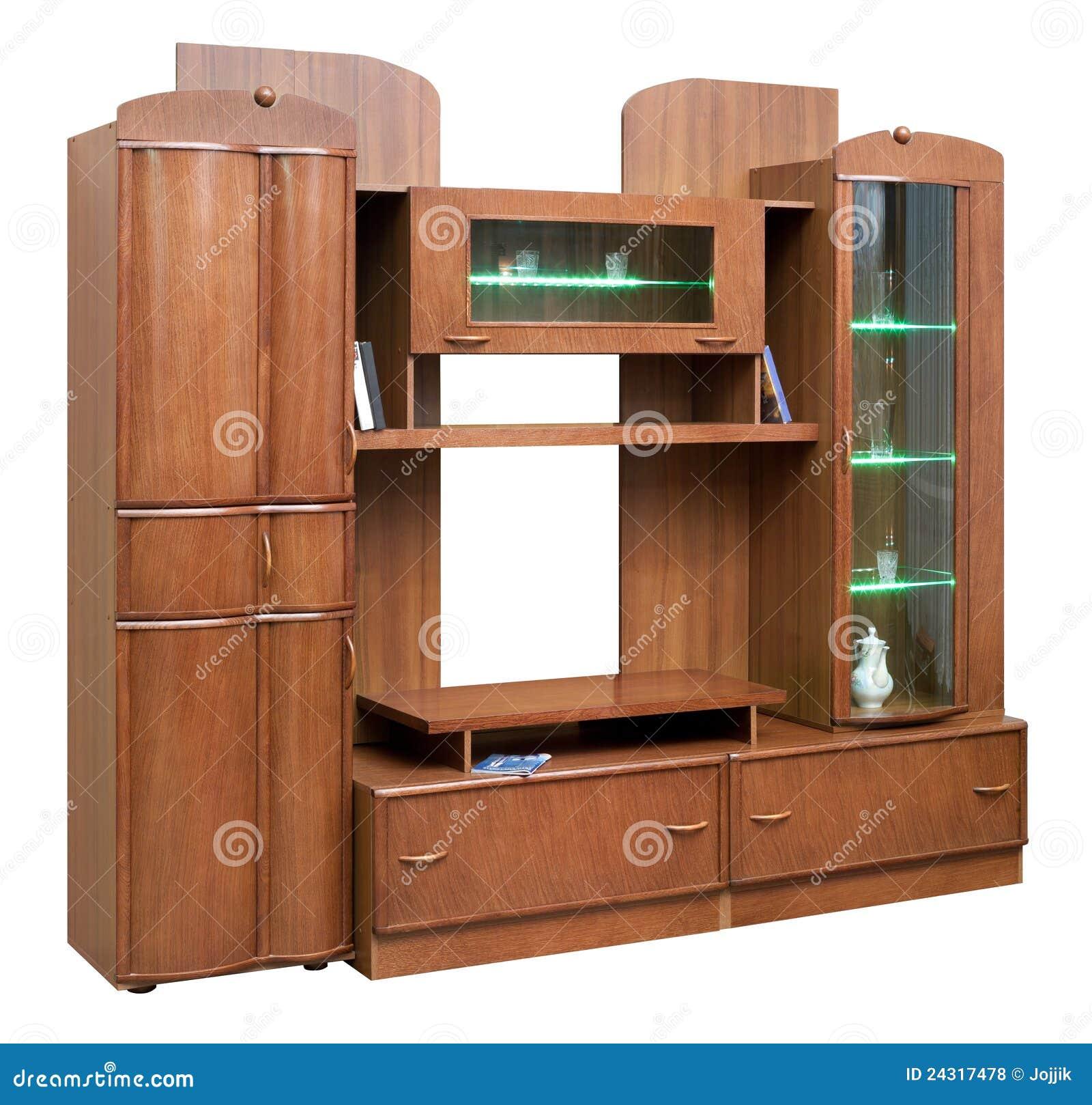 Wooden Cupboard With Glass Doors Stock PhotoImage 24323910