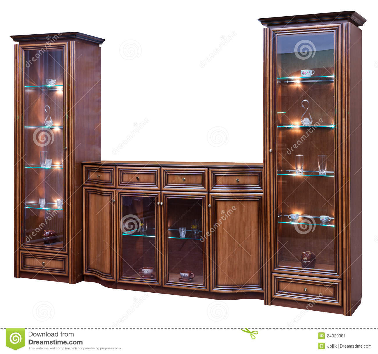 wooden cupboard with glass doors stock image - Cabinet With Glass Doors