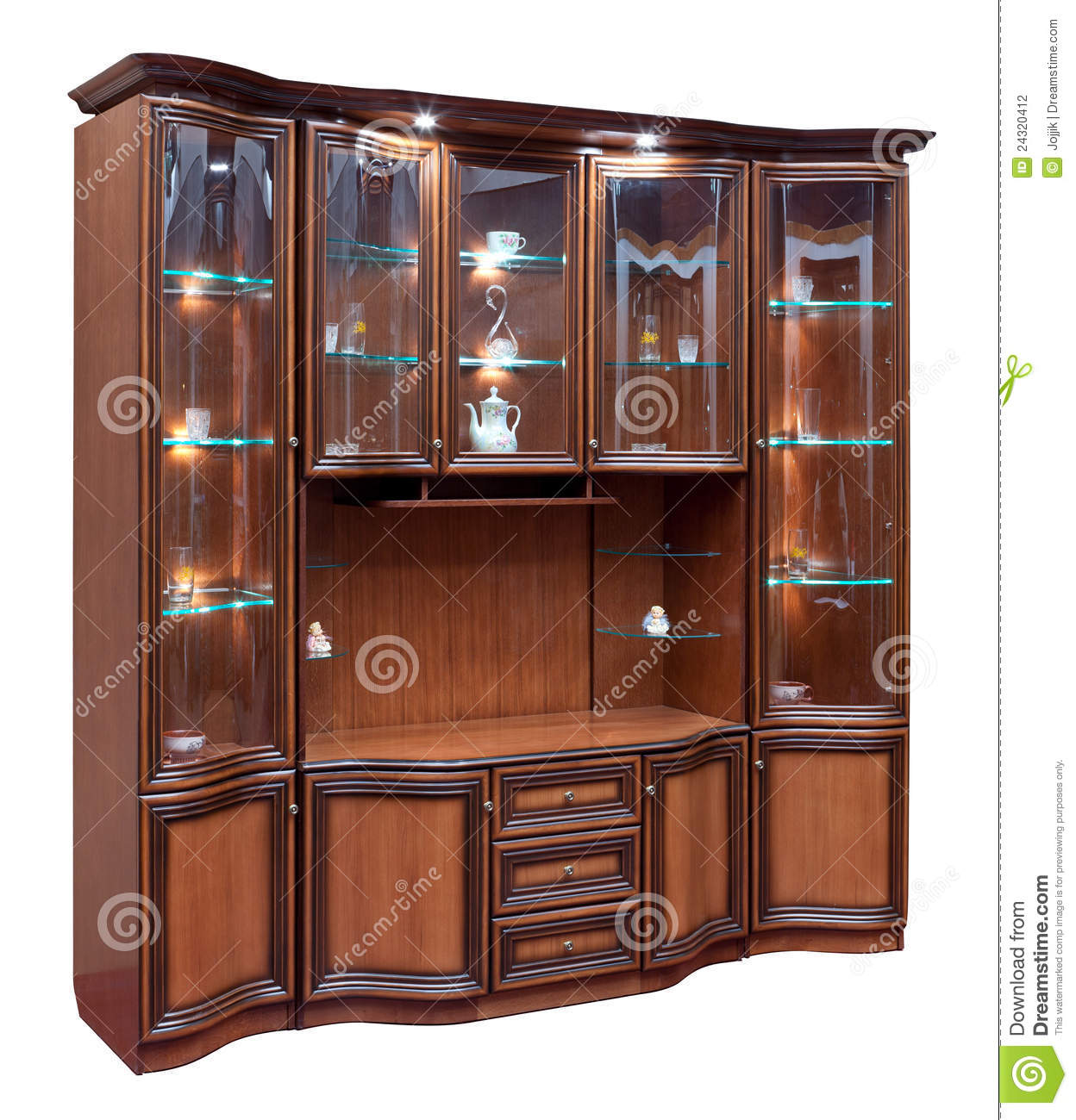 Superb img of Wooden Cupboard With Glass Doors Stock Photography Image: 24320412 with #977C34 color and 1248x1300 pixels