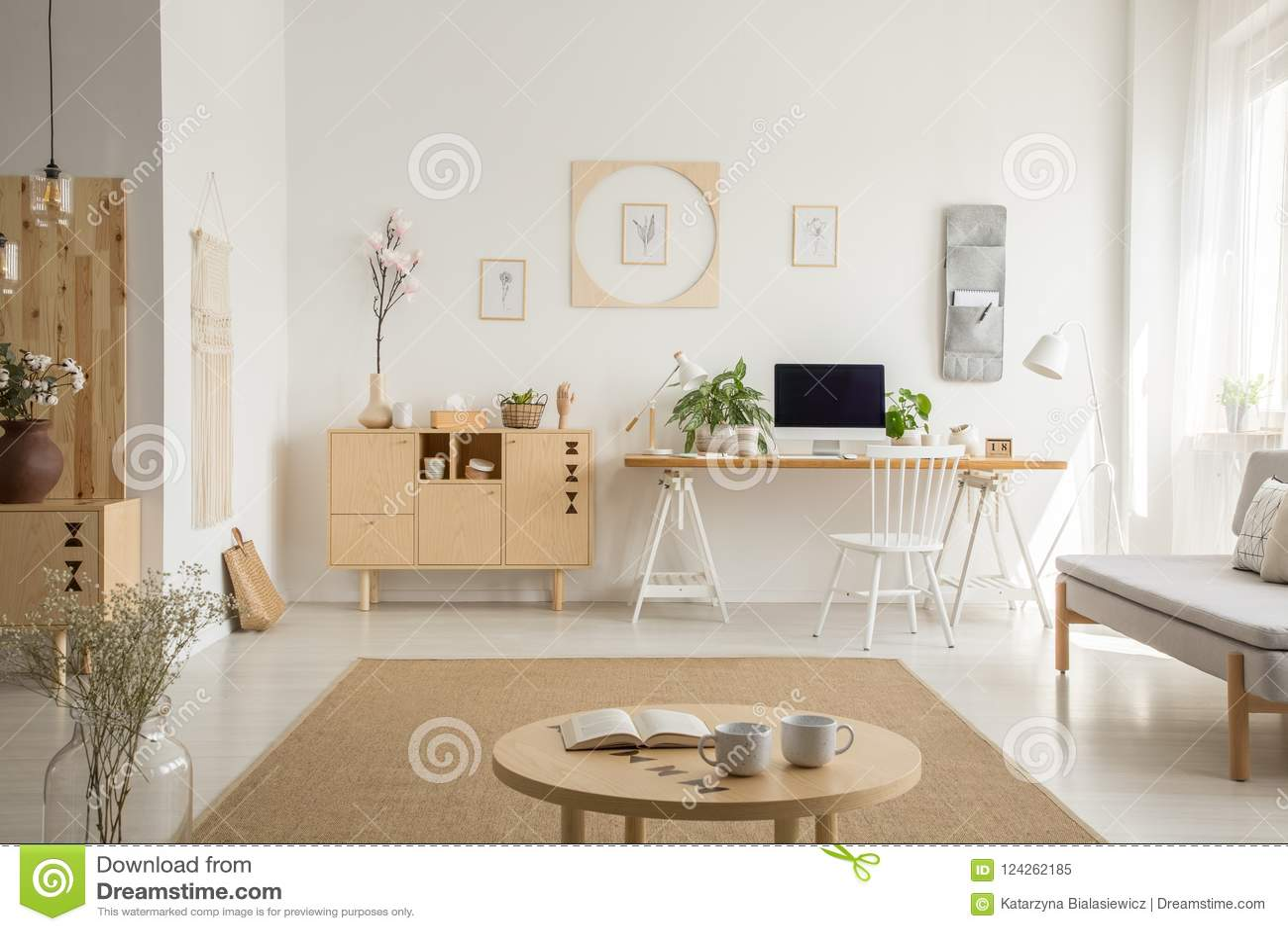 best website 616f0 c50a2 Wooden Cupboard Next To Desk In White Home Office Interior ...