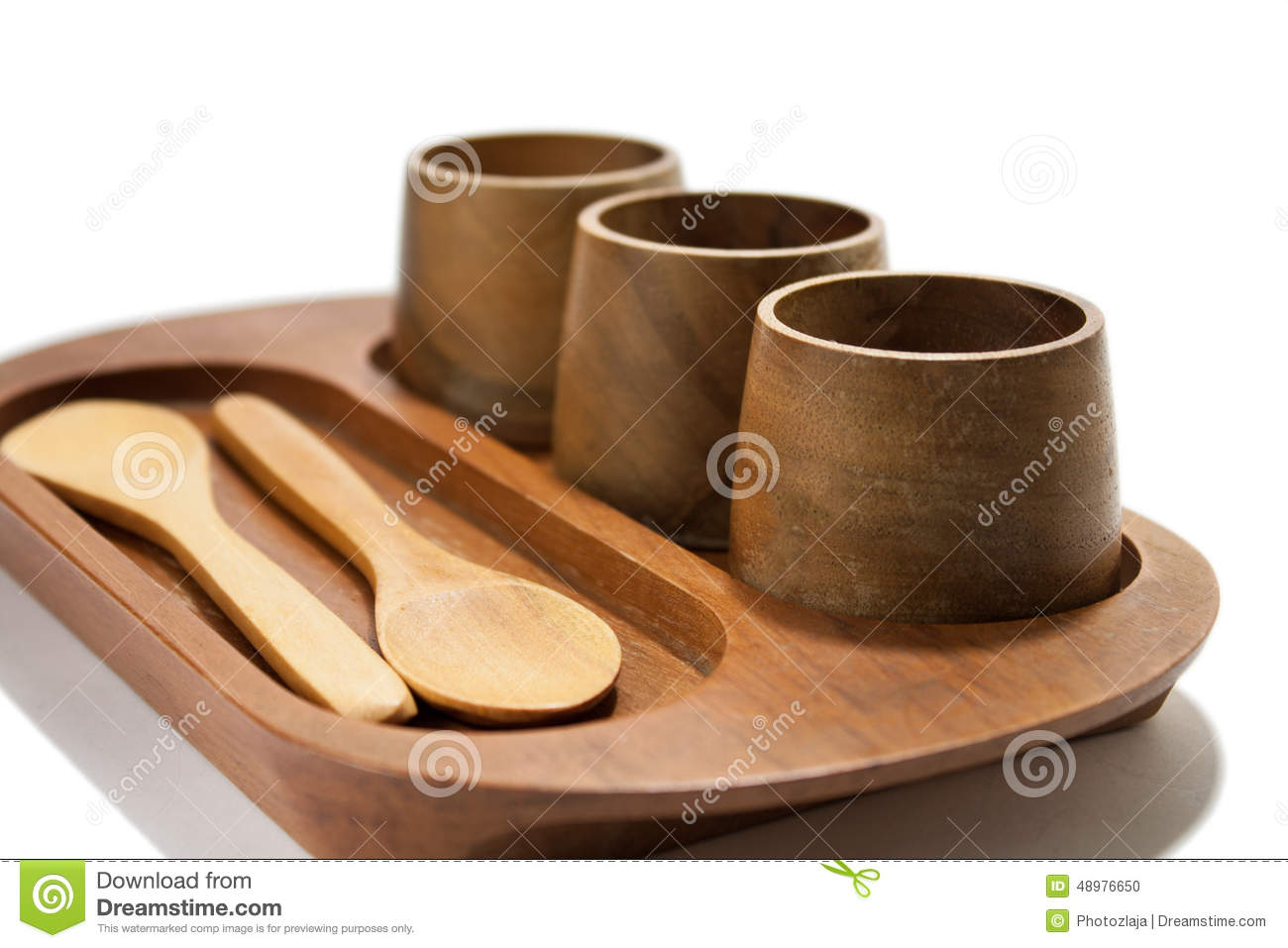 Wooden Cups And Spoons On The Wooden Holder Stock Photo - Image ...