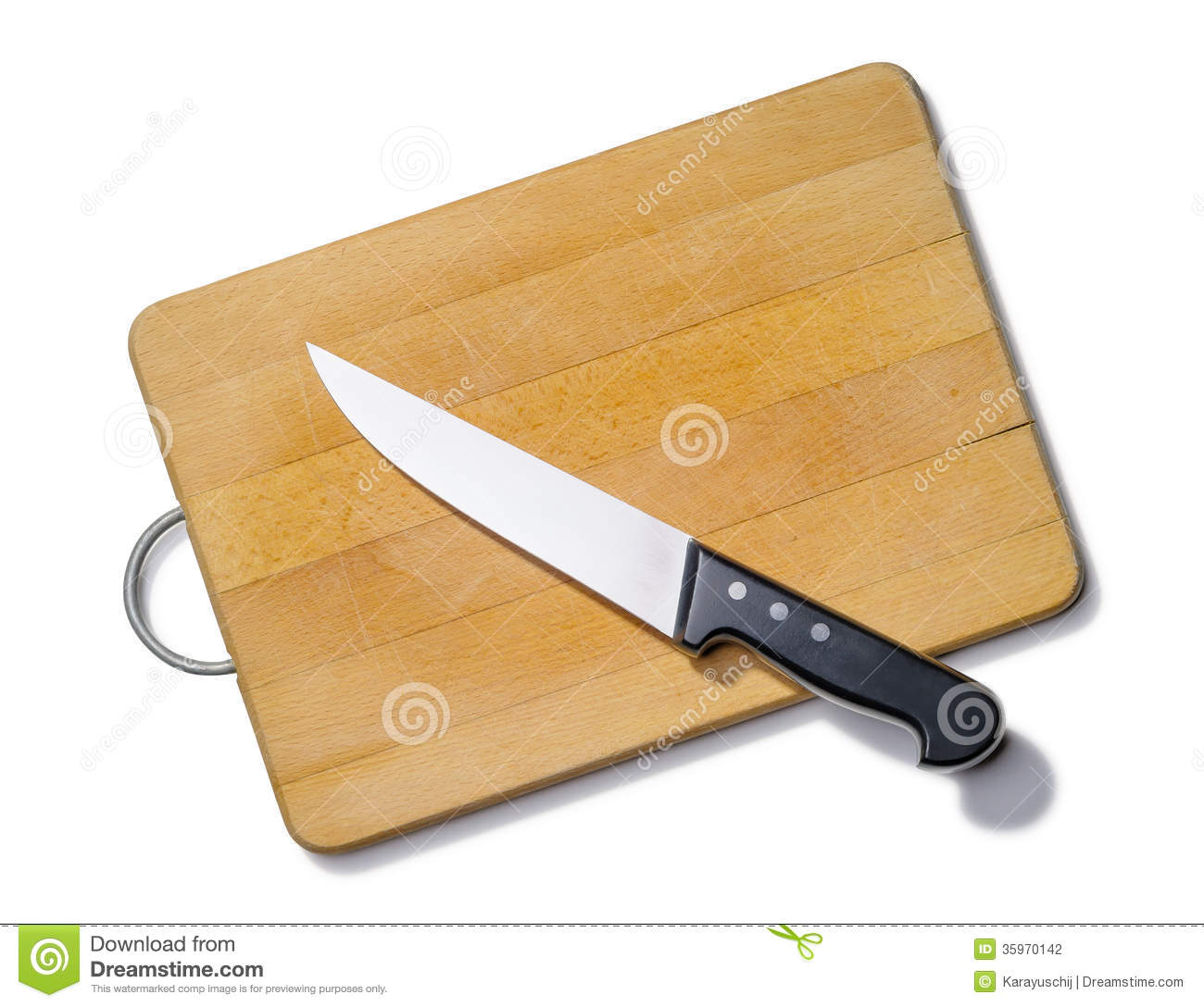 stock photography wooden cutting board kitchen knife isolated white background image kitchen cutting table Wooden Cutting Board with Kitchen Knife