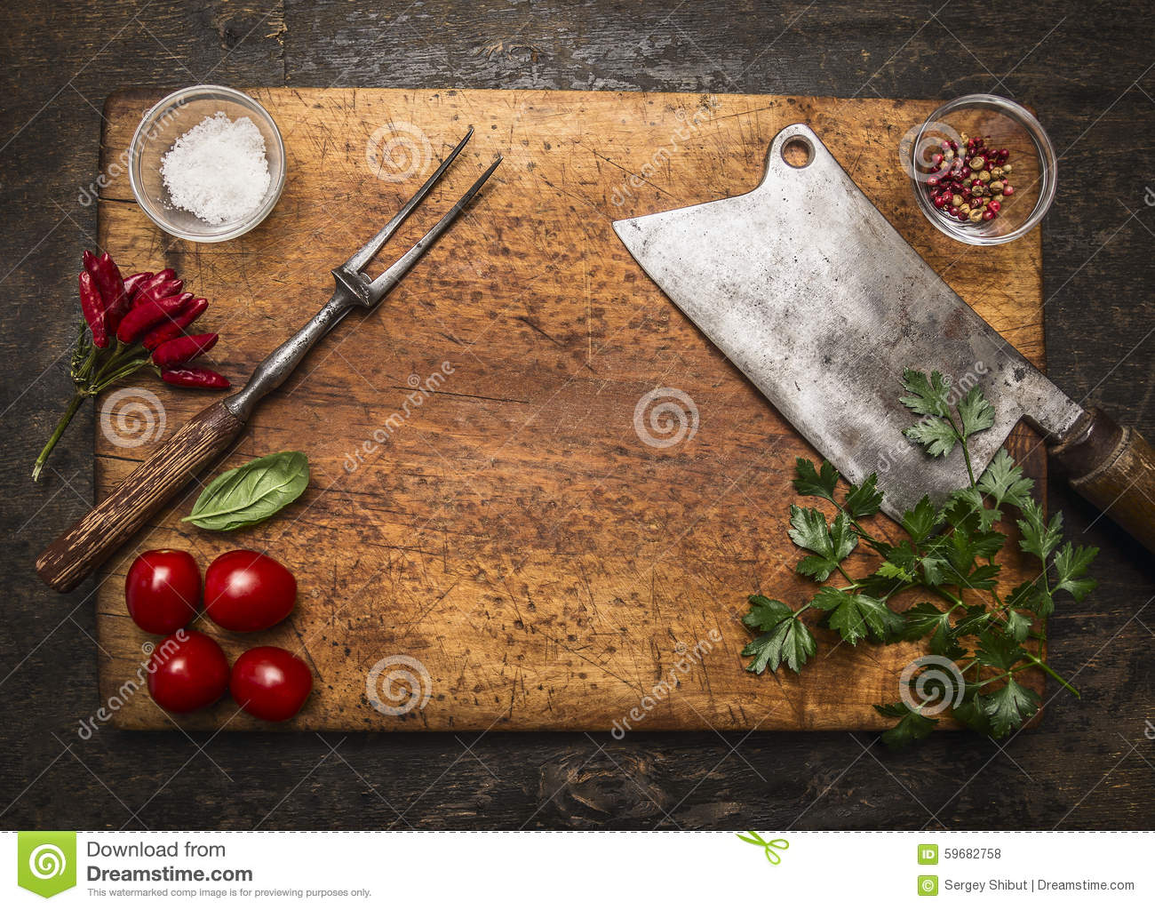 Wooden Cutting Board With Slasher Meat Fork Meat Pepper