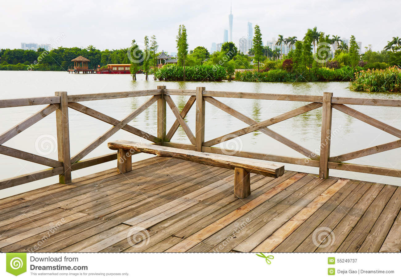 Wooden Deck Wood Outdoor Patio River Terrace Royalty Free Stock Photography