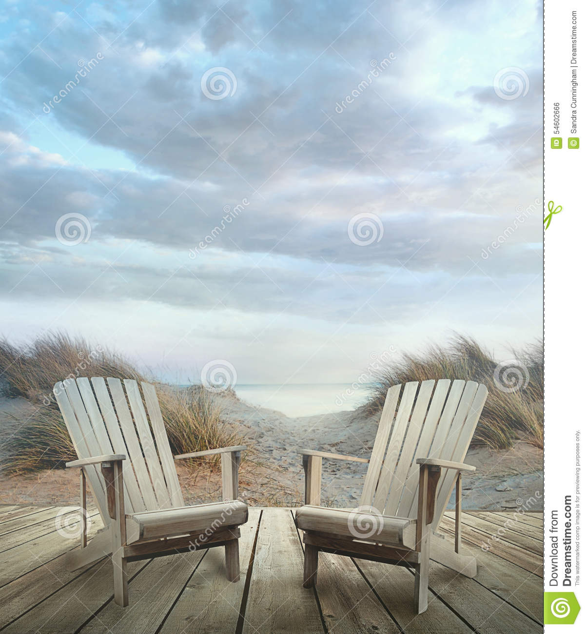 Wooden Deck With Chairs Sand Dunes And Ocean Stock
