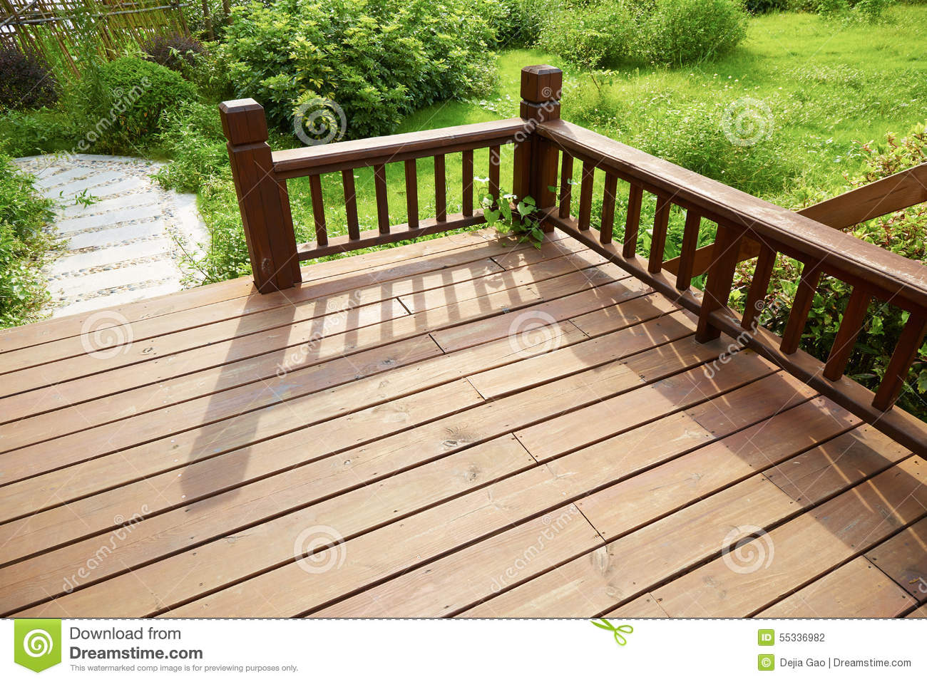 house wooden deck wood outdoor backyard patio in garden stock photo