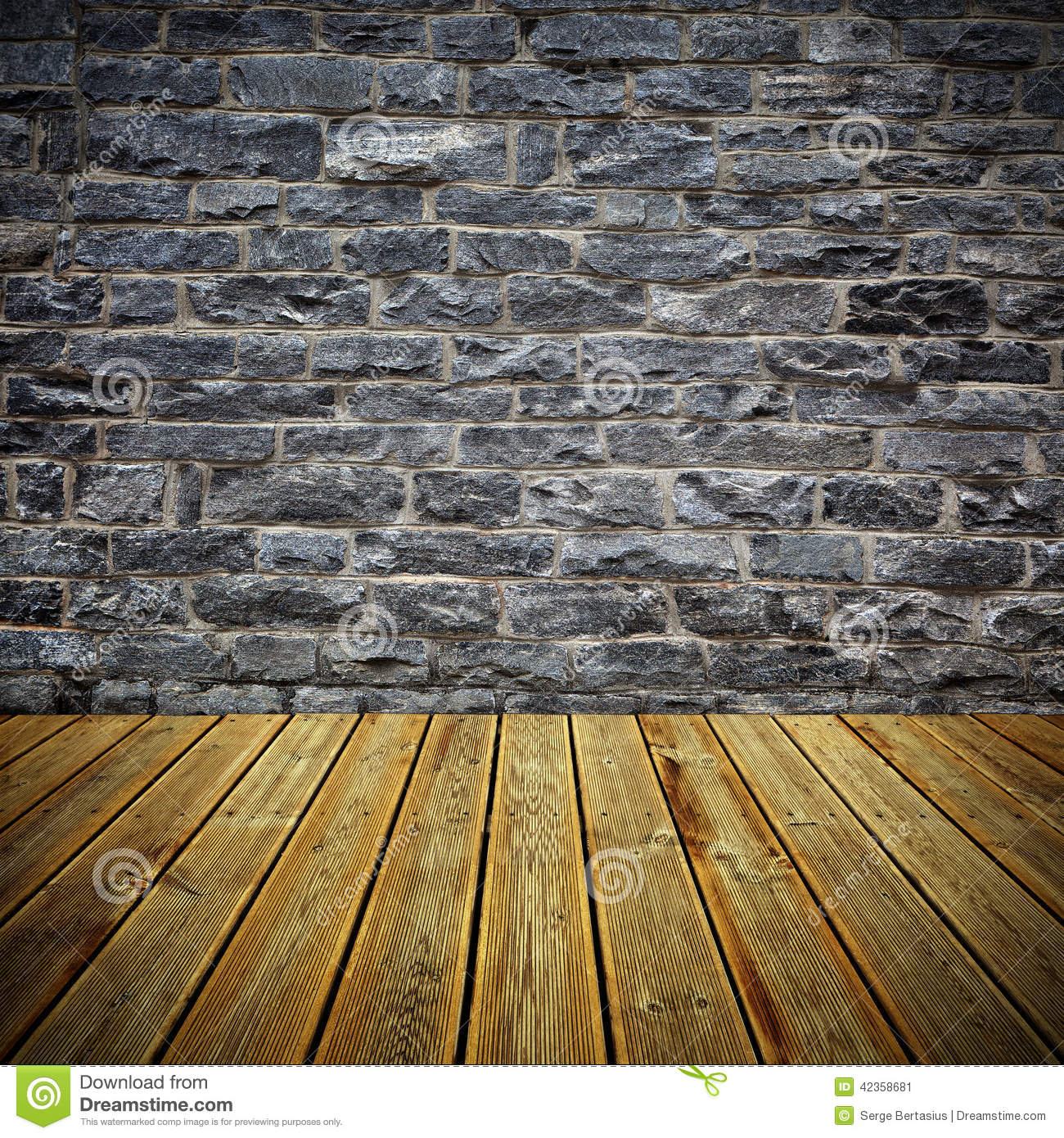 Wooden deck floor and brick wall stock image image of for Grey stone deck
