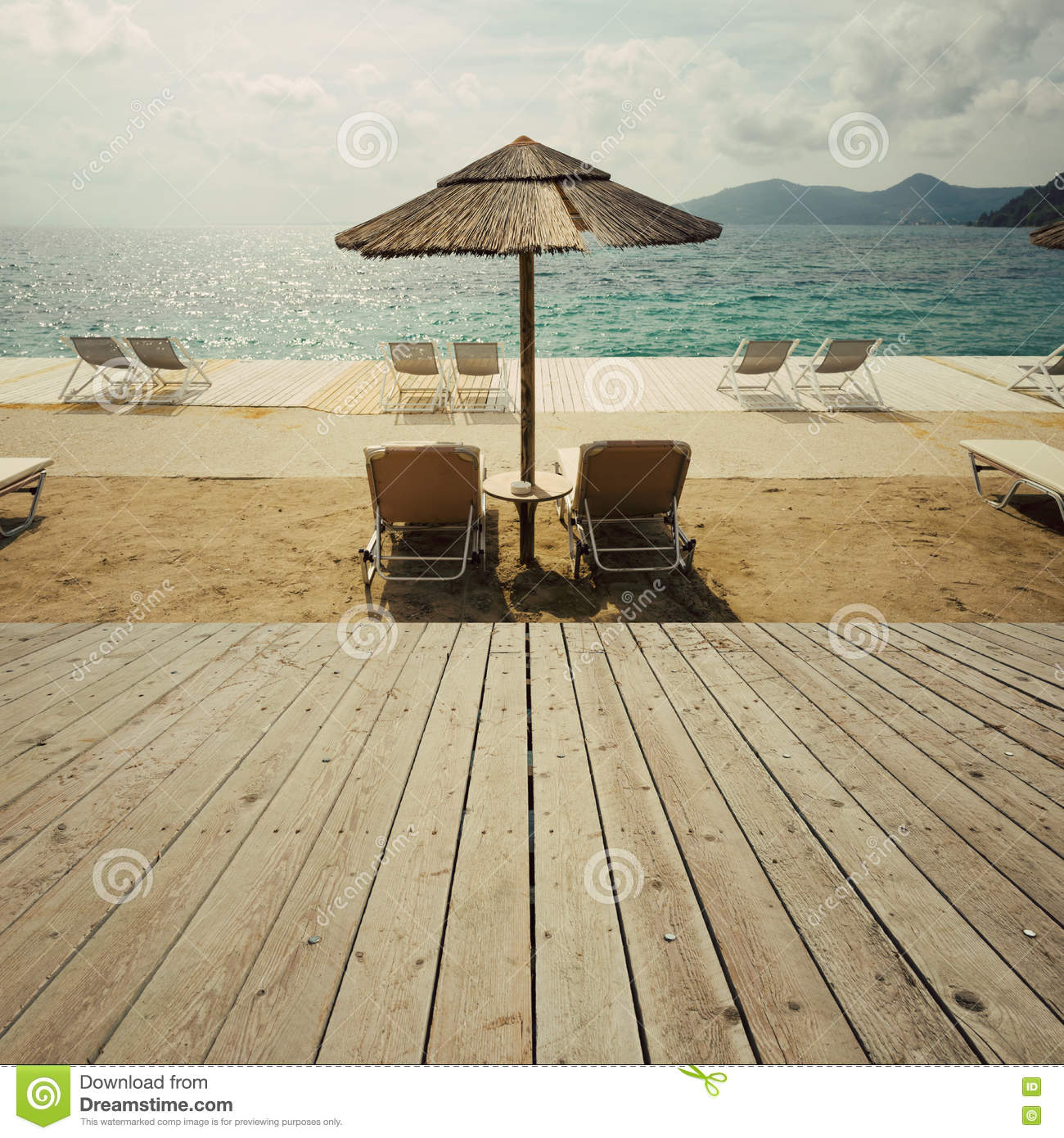 Wood Floor On Beach Sea And Blue Sky For Background Stock: Wooden Deck Terrace Over Sea Beach And Sky. Summer