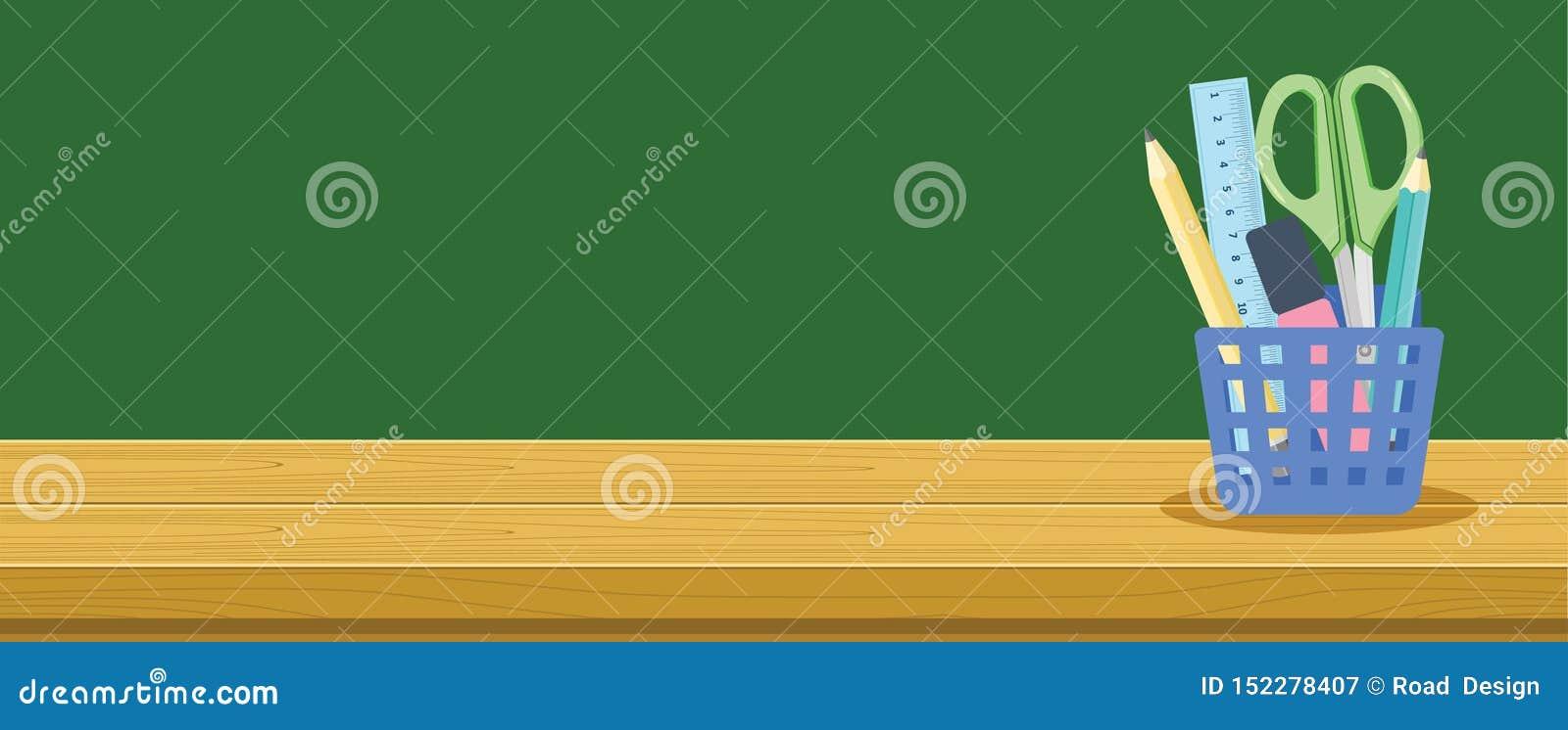 Wooden Desk And Stationery Basket For School Students Education Background Banner Concept Stock Vector Illustration Of Basket Eraser 152278407