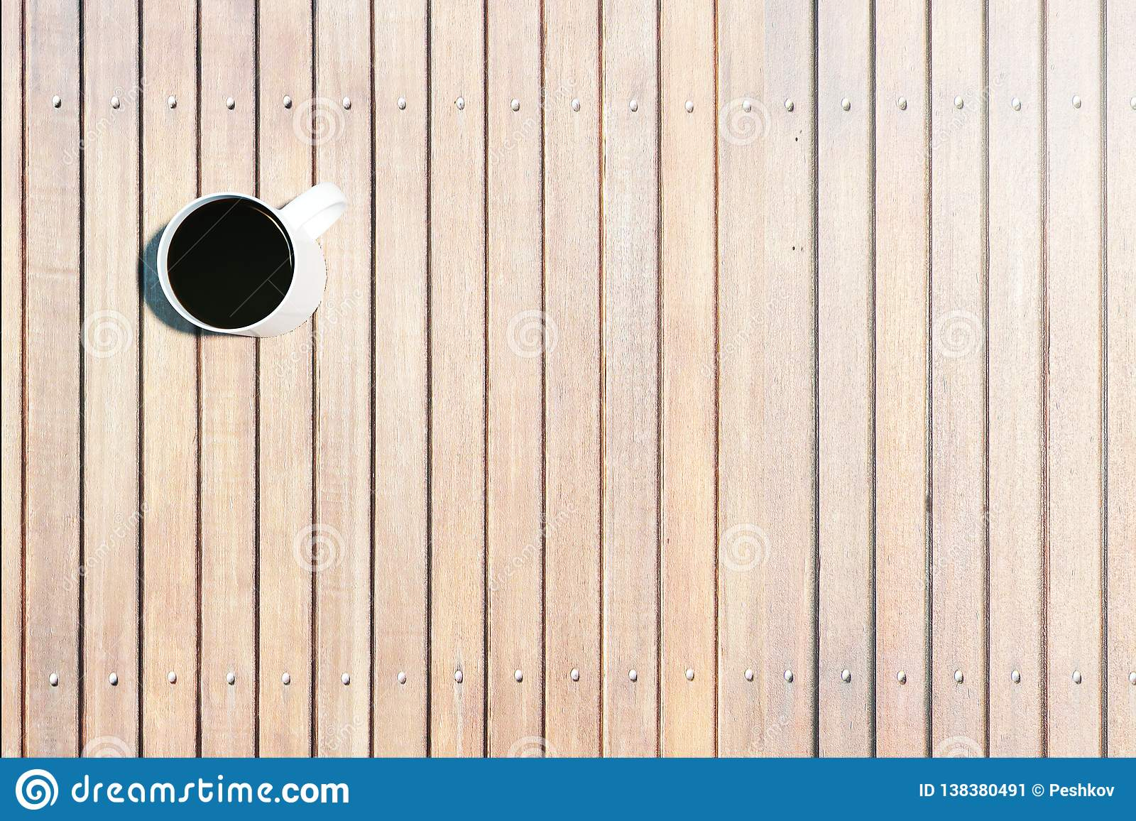 Stupendous Wooden Desktop With Coffee Stock Image Image Of Clean Interior Design Ideas Helimdqseriescom