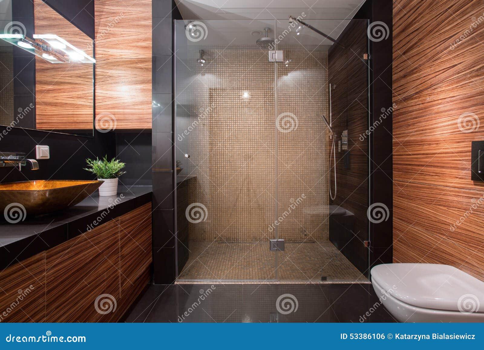 Wooden details in luxury bathroom