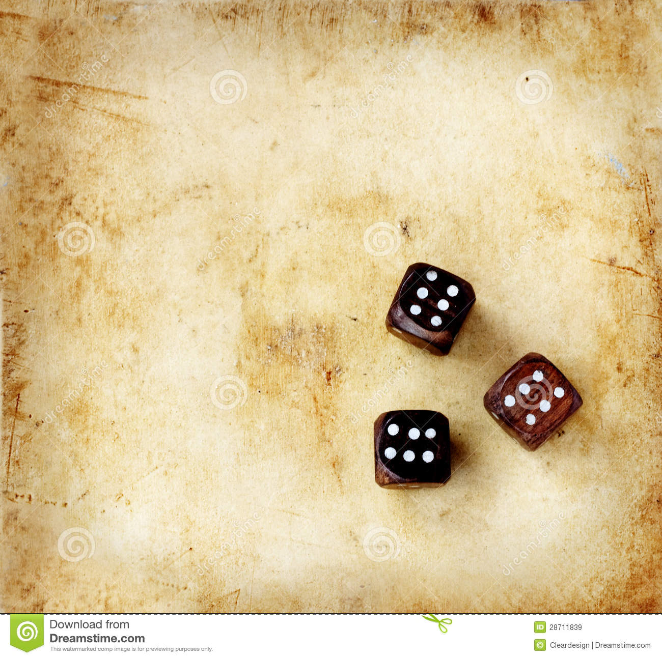 wooden dice on a vintage background royalty free stock images