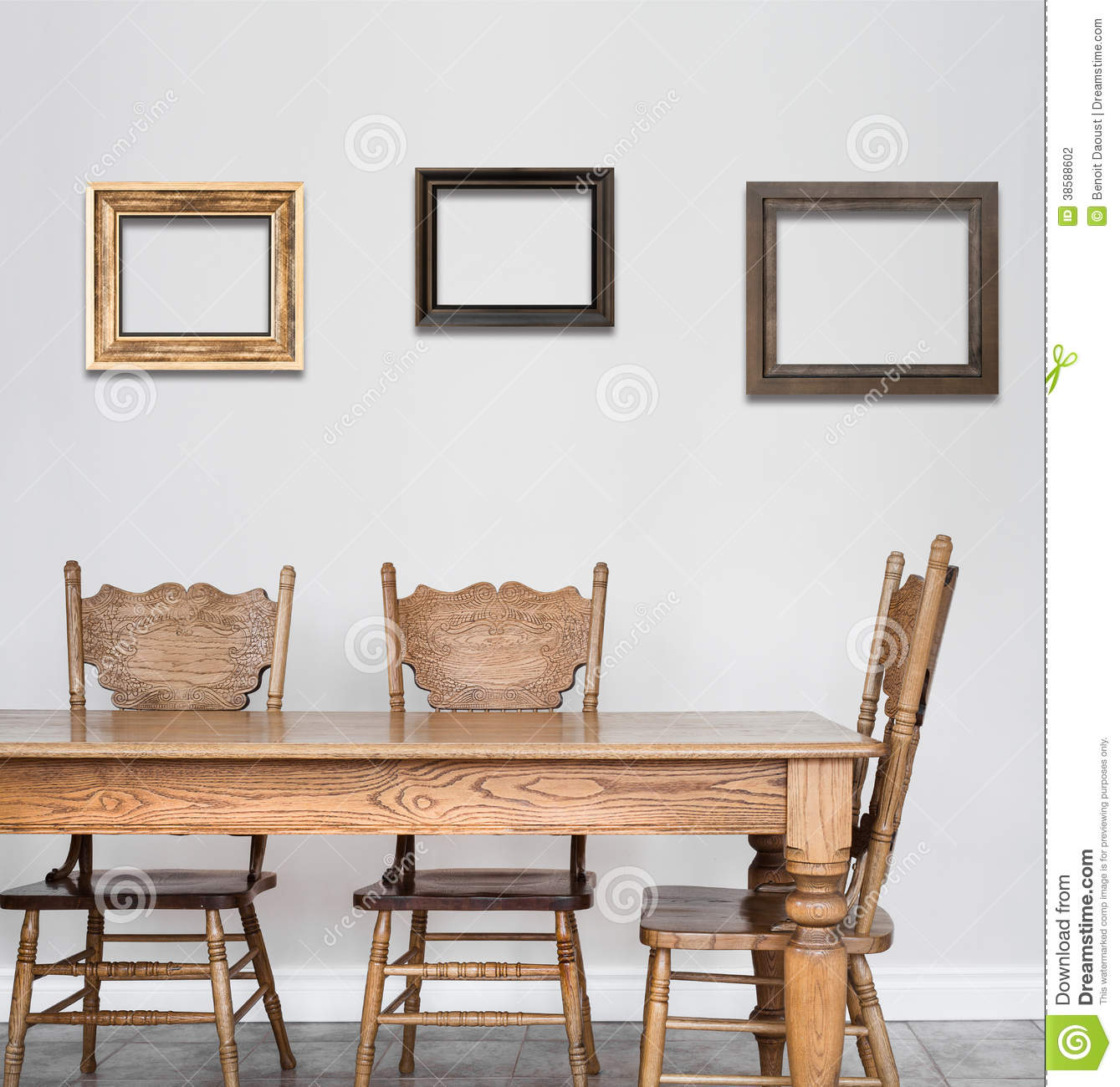 Wooden Dining Room Table And Chair Details Blank Frames For Your Text Image Or Logo Even Family Pictures
