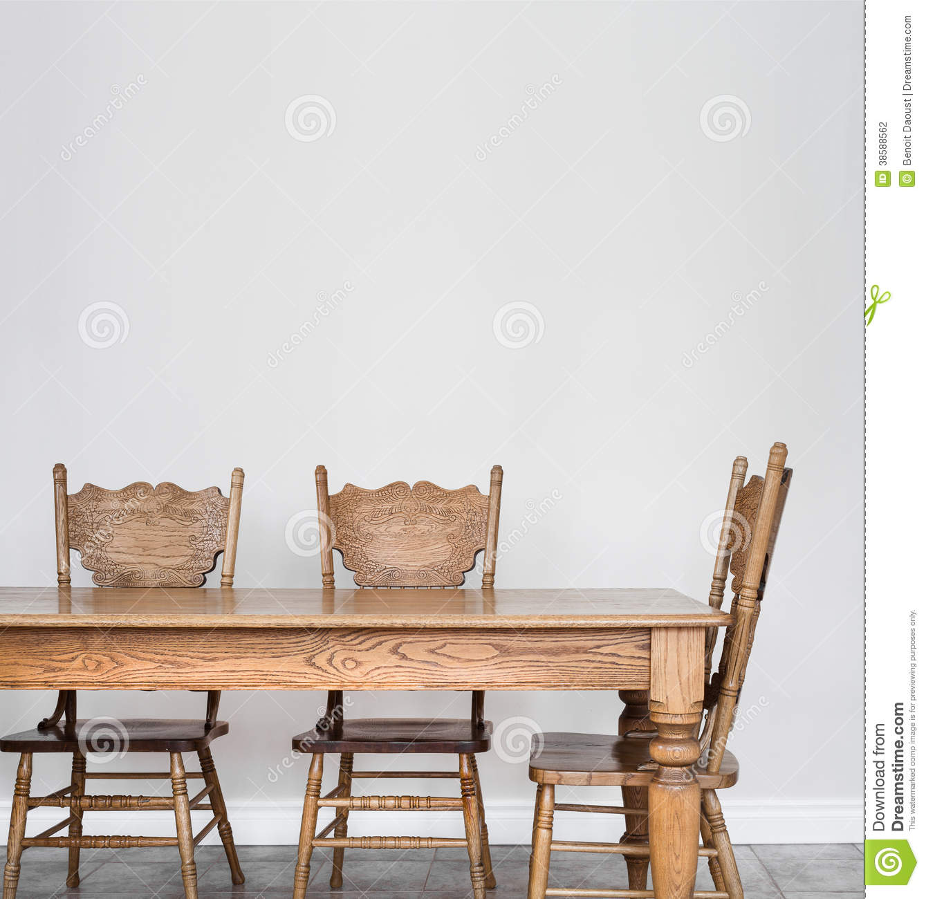 Blank Wall Ideas Dining Room : Wooden dining room table and chair details stock