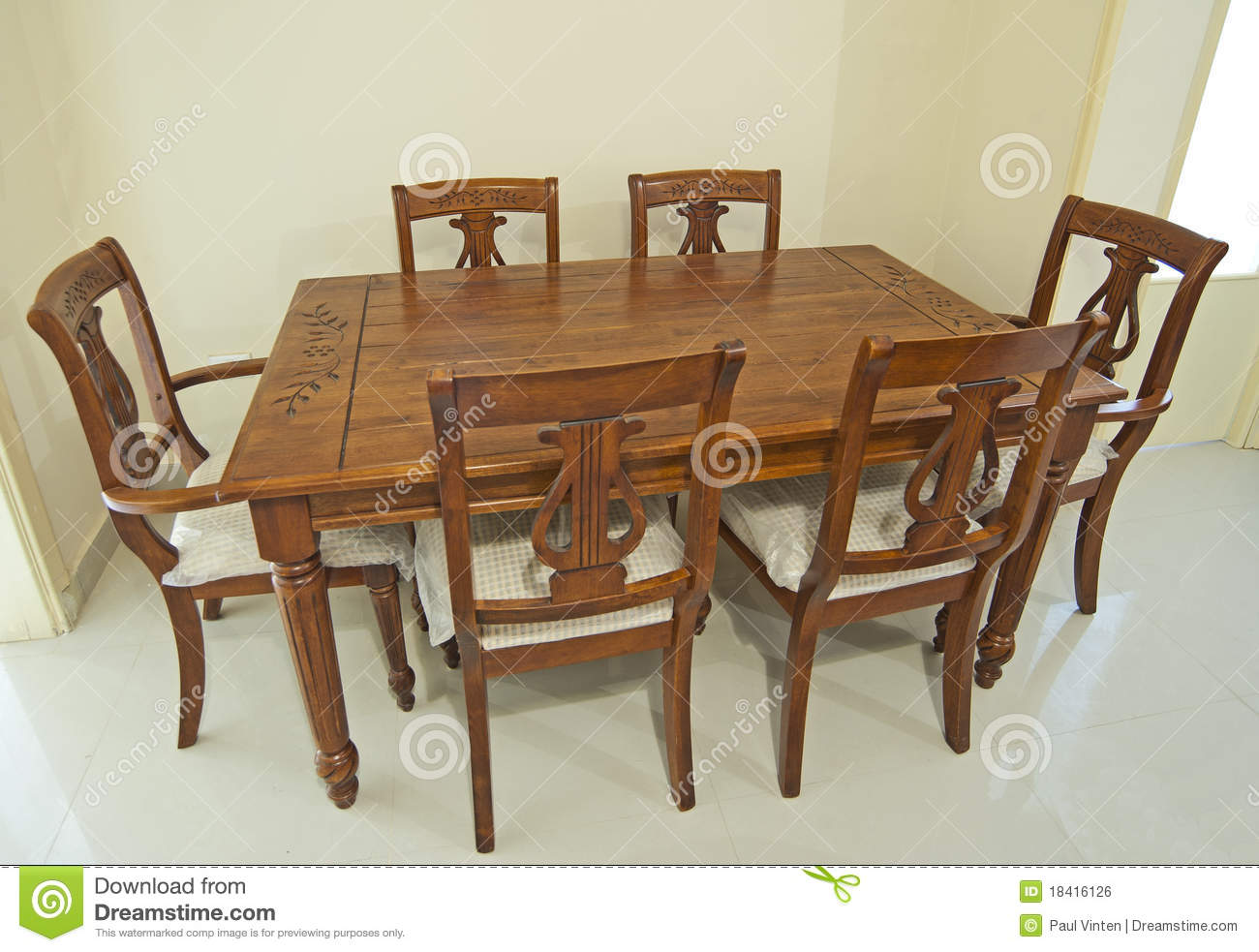 Wooden dining table and chairs royalty free stock image image 18416126 - Free dining tables ...