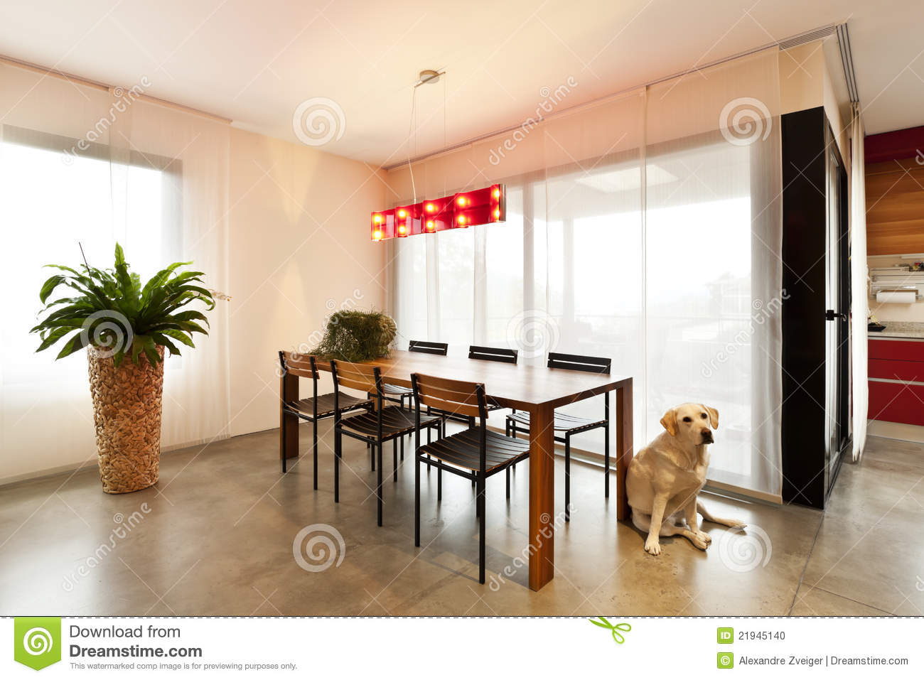 wooden dining table living room stock photo image 21945140