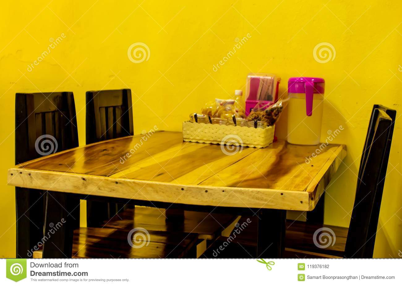 Wooden dining table In the restaurant.