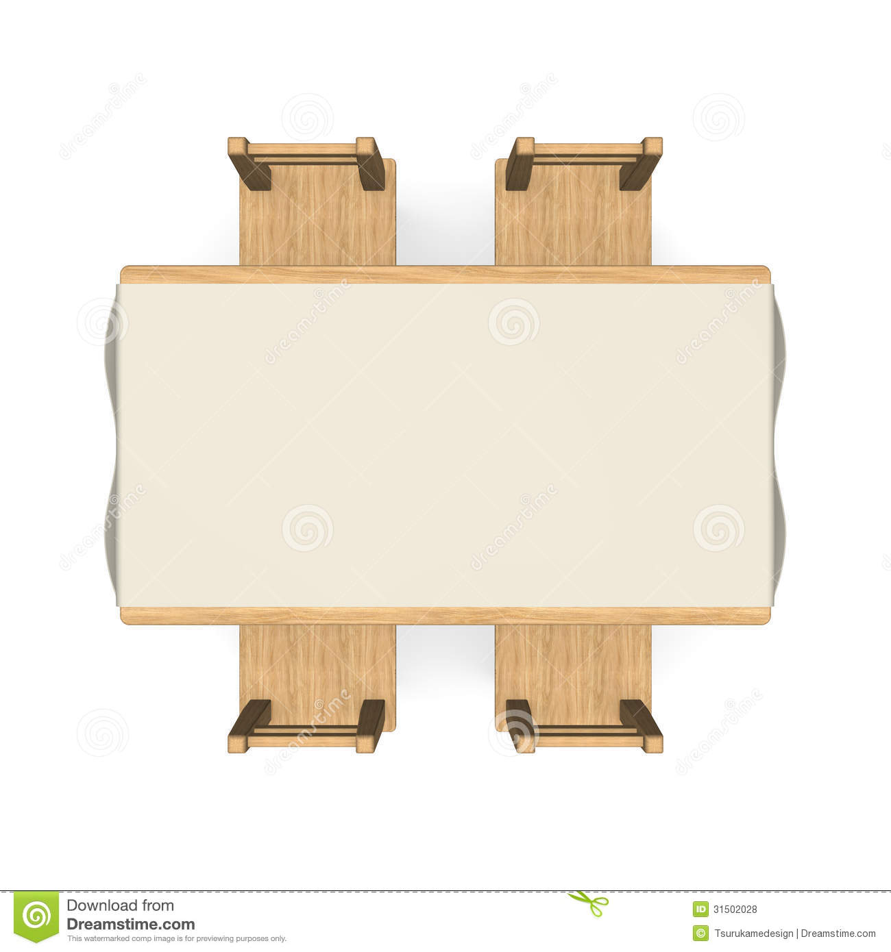 Wooden Dining Table Tow View Royalty Free Stock Photos