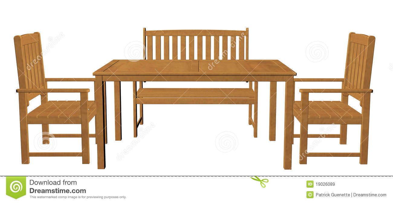 Wooden Dinner Table, Chair And Seat Stock Illustration ...