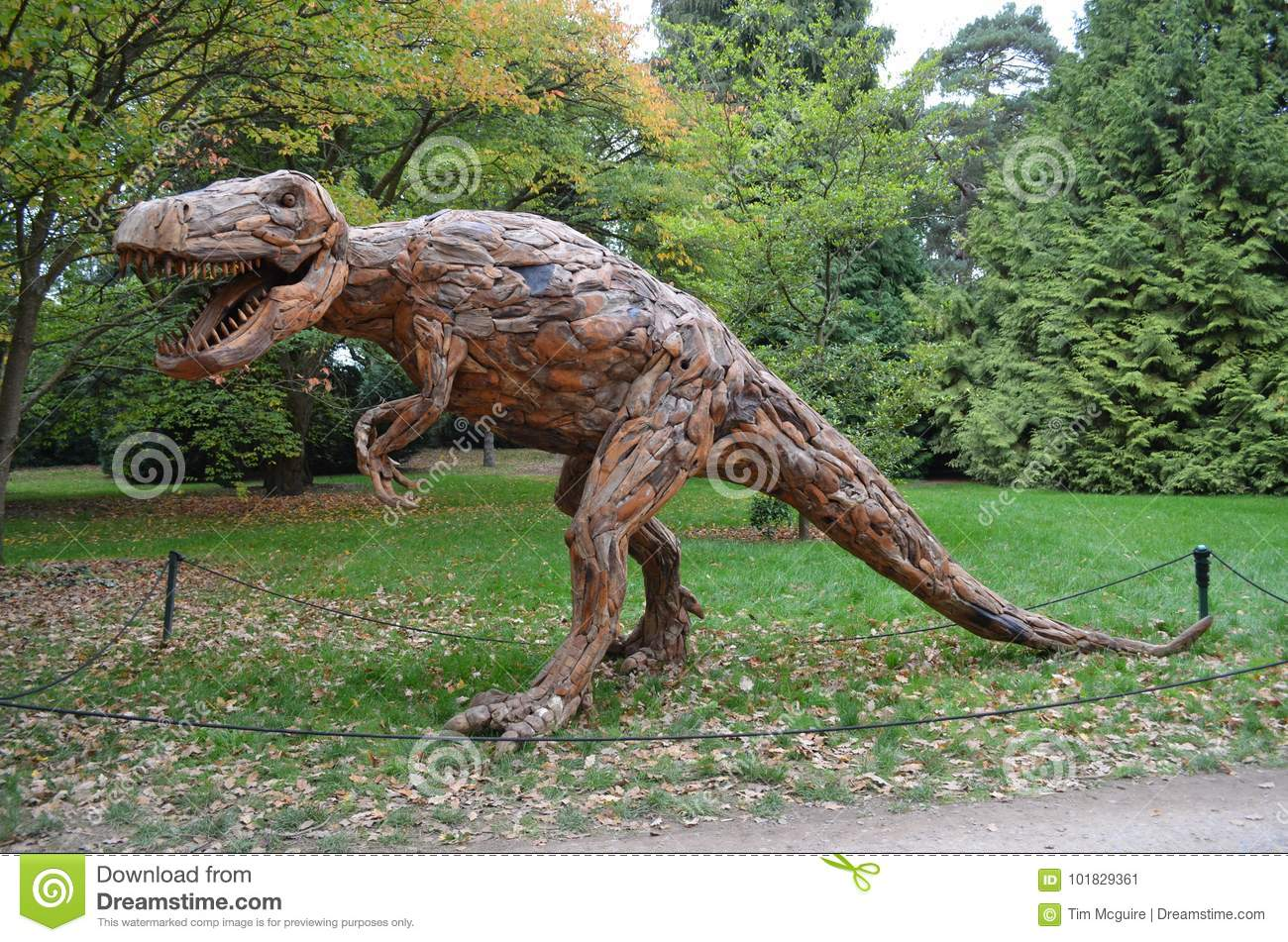 Wood Sculpture Of A T Rex Dinosaur At RHS Wisley Garden, Surrey