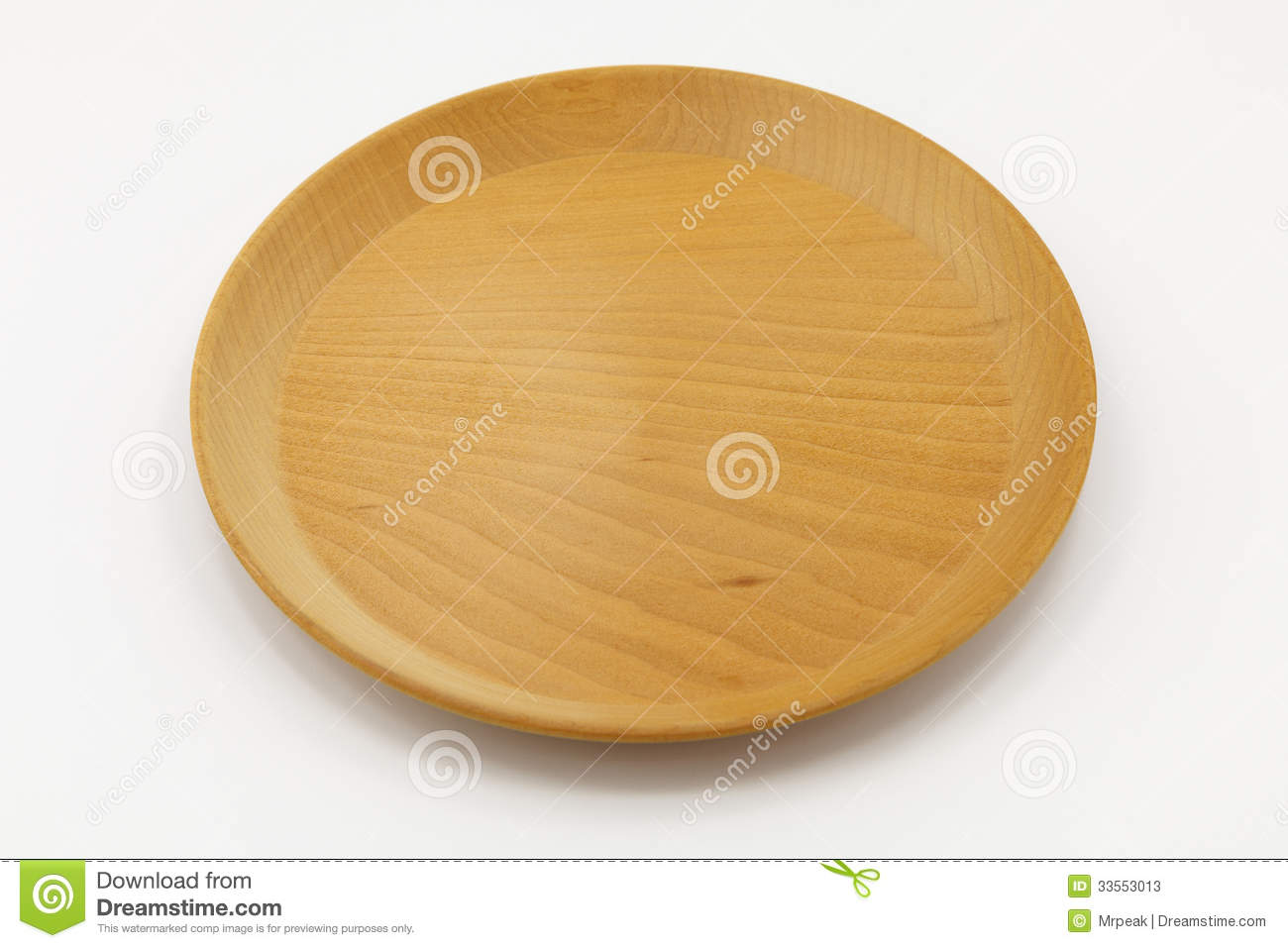 Wooden dish on isolated background
