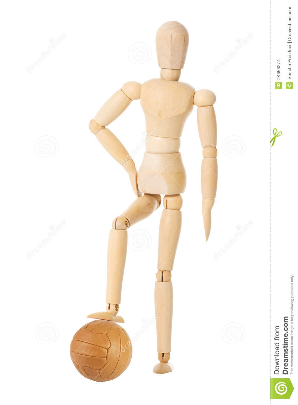 Wooden Doll With Soccer Ball Stock Images - Image: 24656274