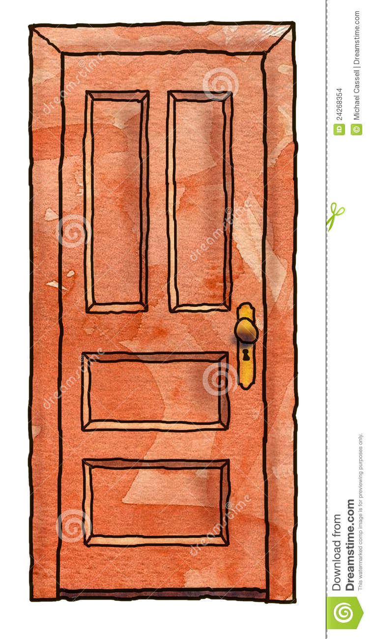 Cartoon Illustration Of A Closed Wooden Door