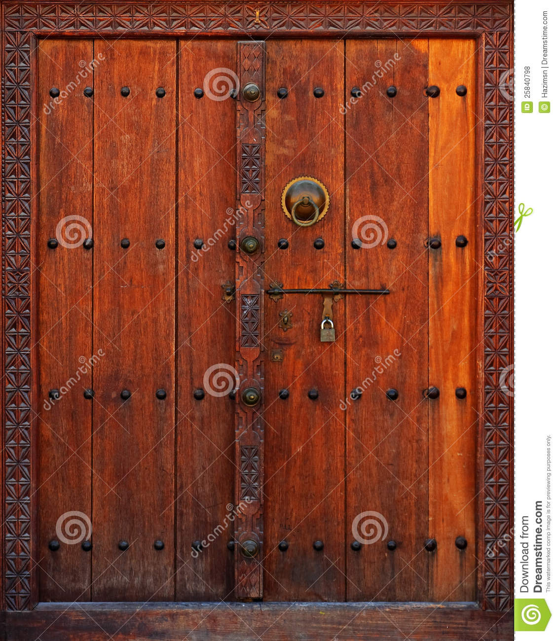 Wooden Door with Carved Frame