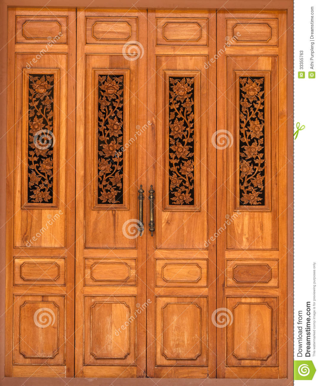 Wooden door decorated with floral wood carvings stock image image