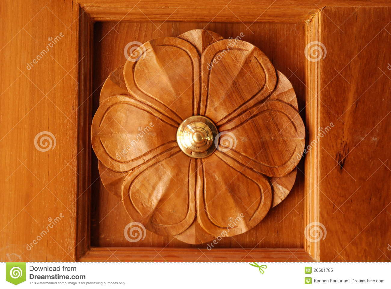 Wooden Door Frame With Beautiful Carving Designs Stock