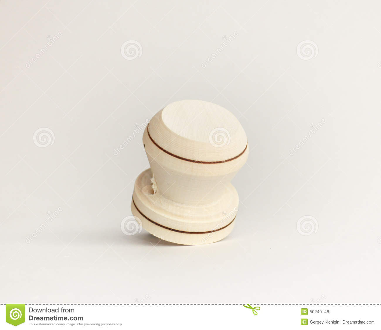 Wooden door handle on a white background isolate