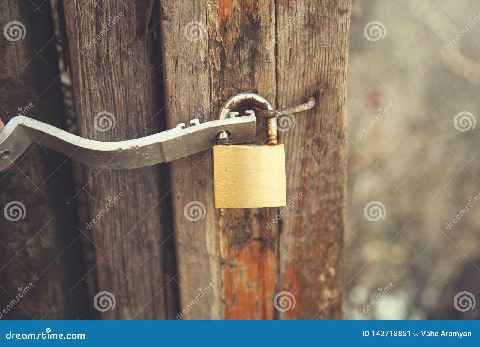 Wooden door lock stock image. Image of padlock, doors - 142718851 on